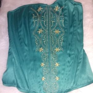 Green with Gold Corset
